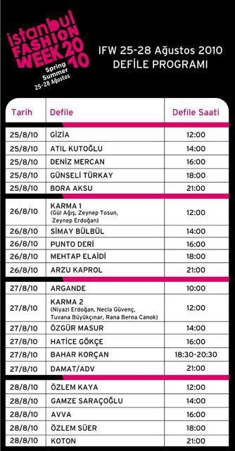 IFW İstanbul istanbul fashion week spring summer 2010 defile programı tablosu