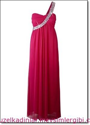 pembe mezuniyet elbiseleri Tek omuz maxi elbise 2014