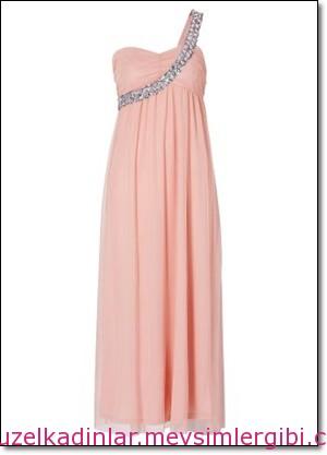 pembe mezuniyet elbiseleri Tek omuz pudra maxi elbise 2014