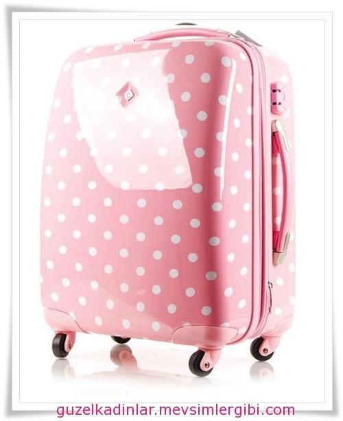 puantiyeli pembe bayan valizleri 2014