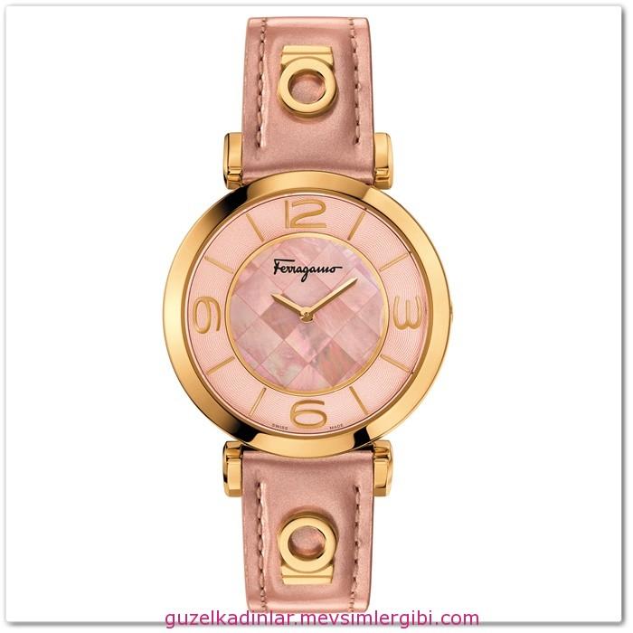 yeni sezon altın rengi tonlarında kadın saat modelleri SALVATORE FERRAGAMO GANCINO DECO