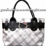 hello kitty ekoseli gri pembe siyah el çantası