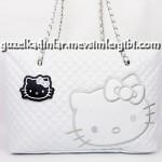 hello kitty beyaz kapitone dikişli el çantası