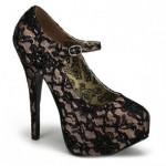 gizli platform topuklu dantel tüllü ayakkabılar