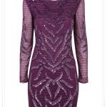 Miss Selfiridge Sonbahar Kış 2014 koleksiyonu mor abiye elbise
